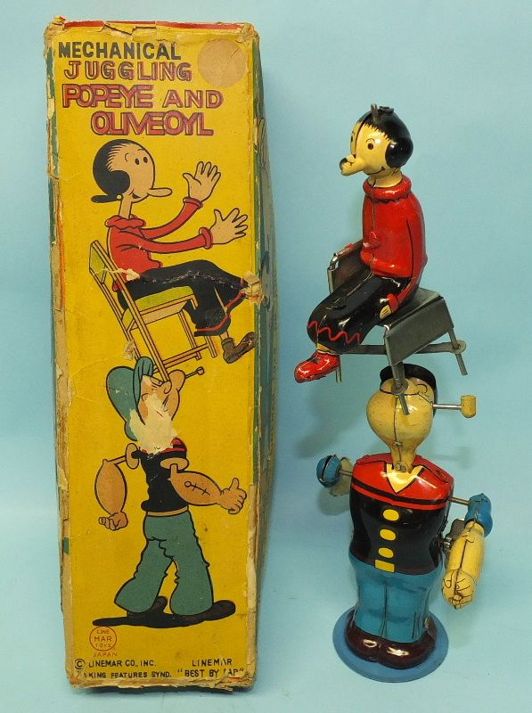 VINTAGE LINEMAR POPEYE JUGGLING OLIVE OYL MECHANICAL TIN WIND UP TOY & BOX   Toys of Times Past