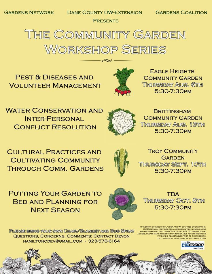 The Community Garden Workshop Series Flyer