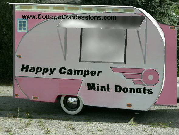 This camper food trailer design mimics a camper turned into a food trailer. Many people like a restored camper as a food concession trailer. These can be used as camper coffee trailers, camper food concession trailers, converted camper shaved ice trailers for sale, and many other uses. The antique look of the tear drop food trailer is a big draw.  Cottage Concessions is well known for low cost custom food trailers for sale and converted camper food trailers for sale.