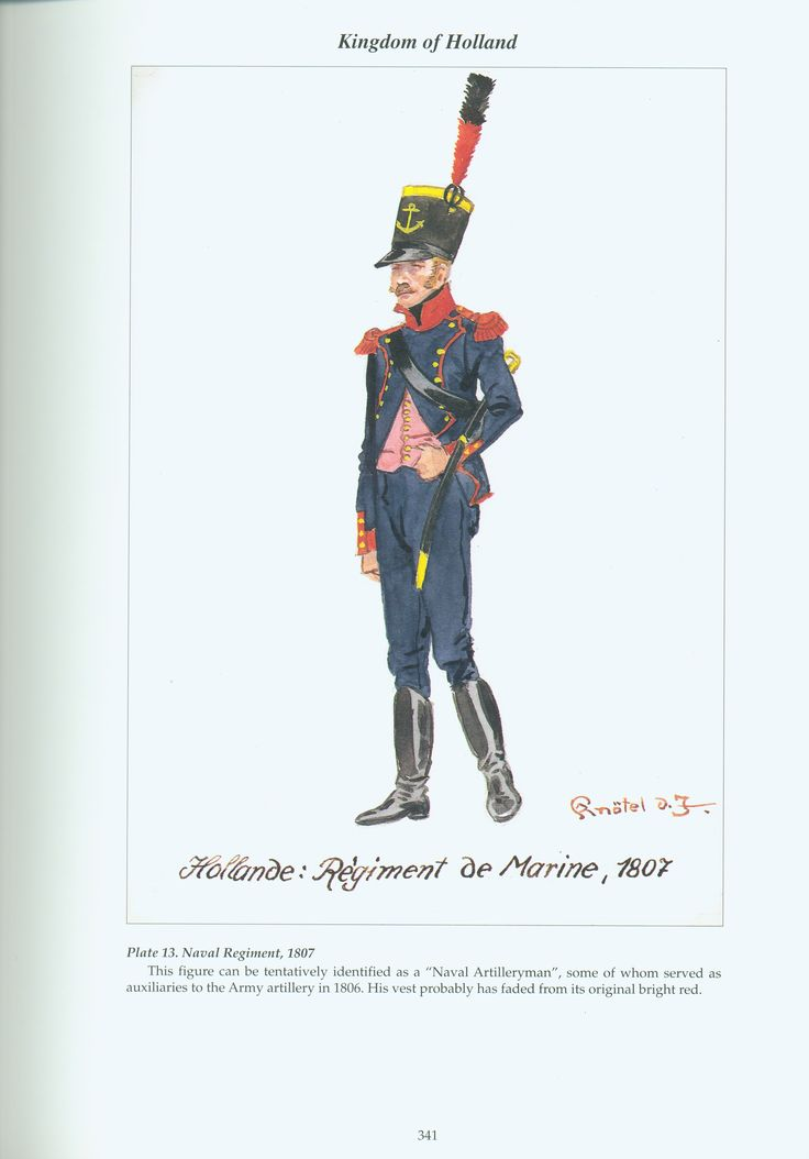 Holland; Naval Regiment, Gunner, 1807 by R.Knotel. note he is shown wearing a faded vest, a new vest would of been bright red.