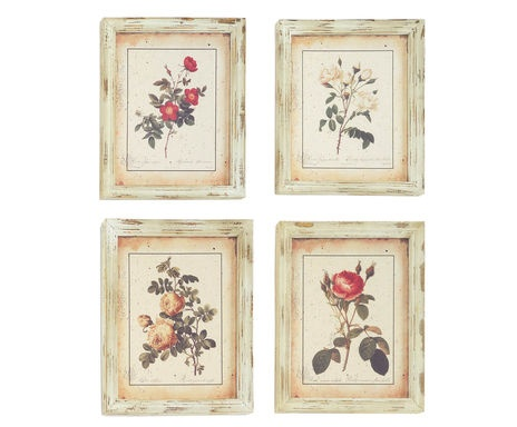 4 gravures encadrées rose, bois - 33*41