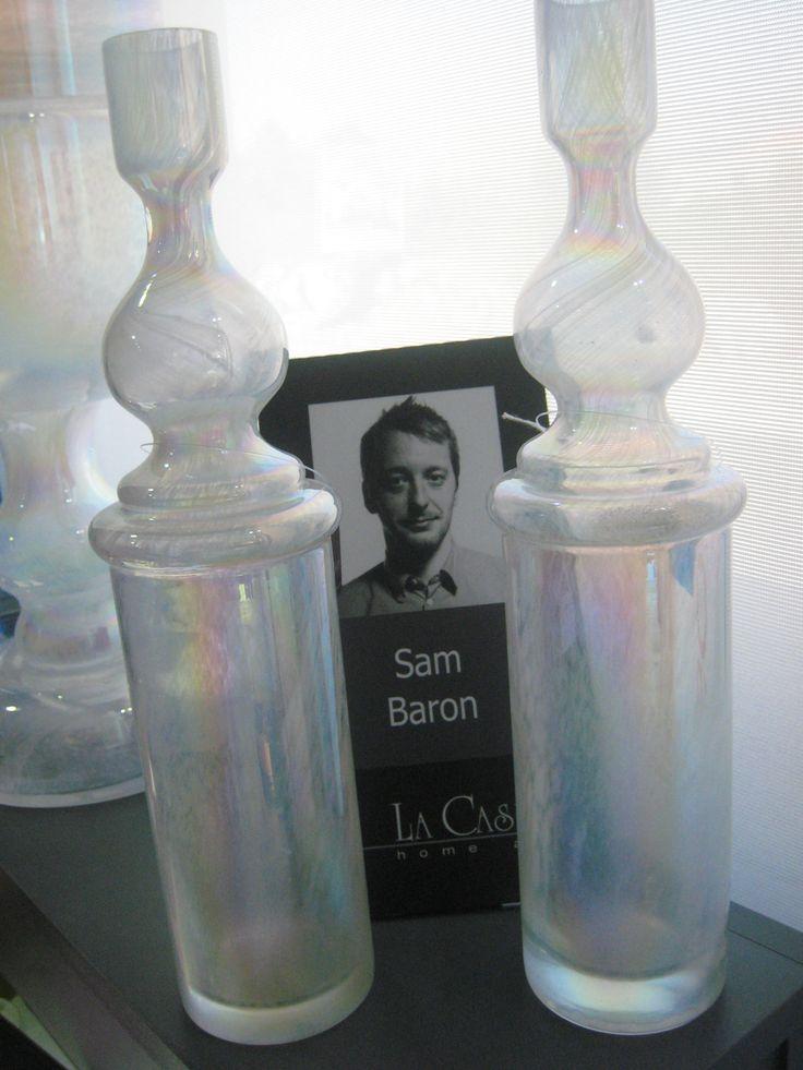 Villes Imaginaires design Sam Baron  CODE : SB0204 SIZE : 35cm 14'' DESCRIPTION : Glass Candle Holder COLOR : Pearlised White Swirl