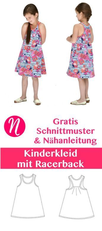 Freebook - Kinderkleid mit Racerback. PDF-Schnittmuster zum Ausdrucken. Gr. 74 - 140 ❤ Nähtalente - Magazin für kostenlose Schnittmuster ❤ Free sewing pattern for a nice girls dress with racerback. Size 1 - 8 years.