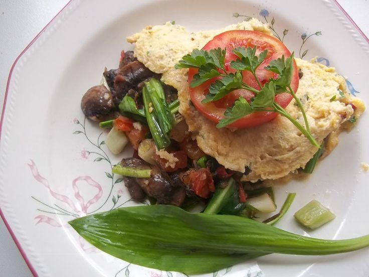 Gombás-medvehagymás omlett