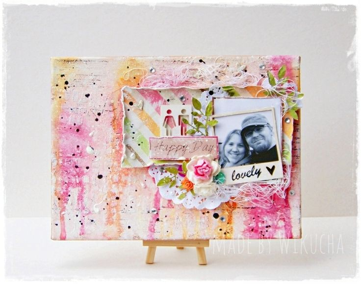 mixed media canvas with me and my husband