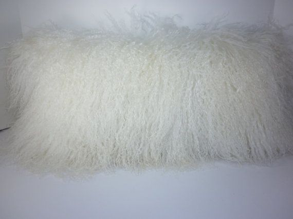 Real Genuine Bleached White Mongolian Lamb fur  Pillow new usa made authentic tibet sheepskin insert included