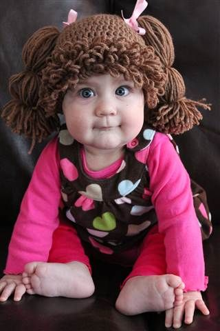 """OMGOSH......CABBAGE PATCH KIDS hats.....just tOOoOOooO CUTE!!!!!! :-)  she has an ETSY shop where her crochet pattern is available!! so click through for the link......  VERY cool--->""""one of her customers makes them for children who have cancer and have lost their hair because of chemotherapy.""""♥"""