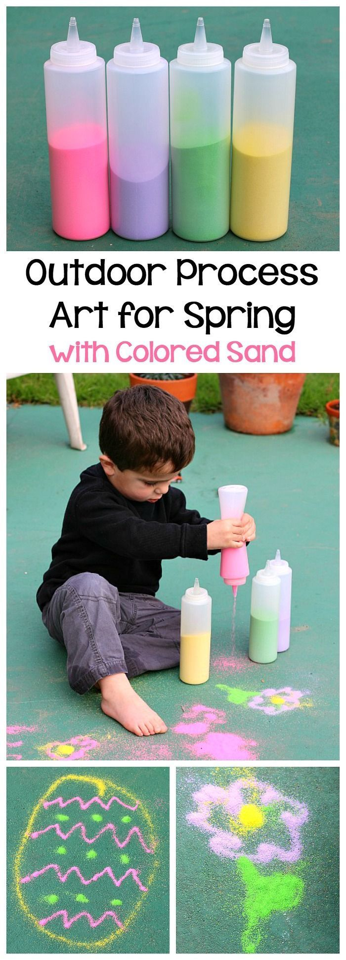 Spring Activities for Kids: Head outside and draw pictures with spring colored sand! Fun sensory activity for toddlers and preschoolers to do this spring or Easter! ~ http://BuggyandBuddy.com
