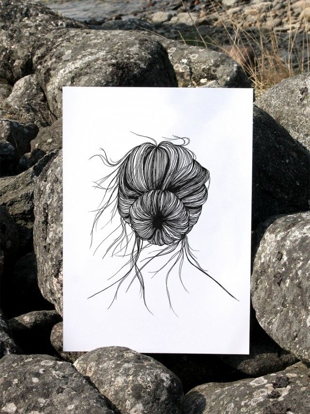 As a sea urchin by Anna Grundberg #nordicdesigncollective #annagrundberg #asaseaurchin #summer #hellosummer #sommar #hair #hairknot #hairstyle #wind #windy #illustration #poster #print #sea #urchin #longhair #rock #cliffs #nordcidesign #swim #swimming #vacation #sun #sunshine