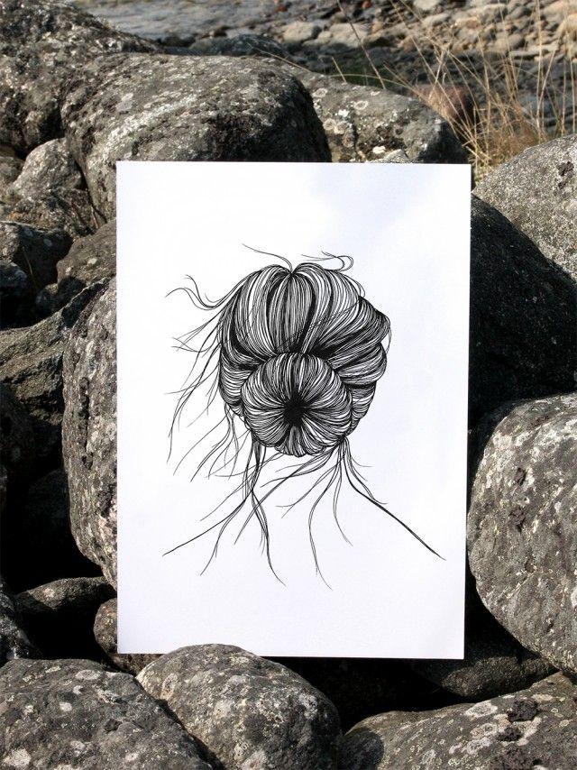 As a sea urchin by Anna Grundberg #nordicdesigncollective #annagrundberg #asaseaurchin #summer #hellosummer #sommar #hair #hairknot #hairstyle #wind #windy #illustration #poster #print #sea #urchin #longhair #rock #cliffs #nordcidesign #swim #swimming #vacation #sun #sunshine