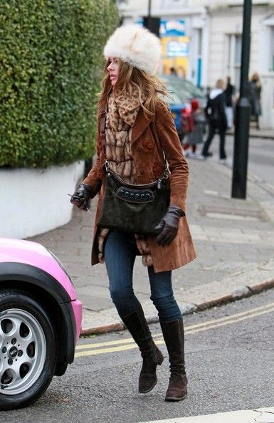 Trinny Woodall Outfits with Flat Boots, Suede Jacket for 2015