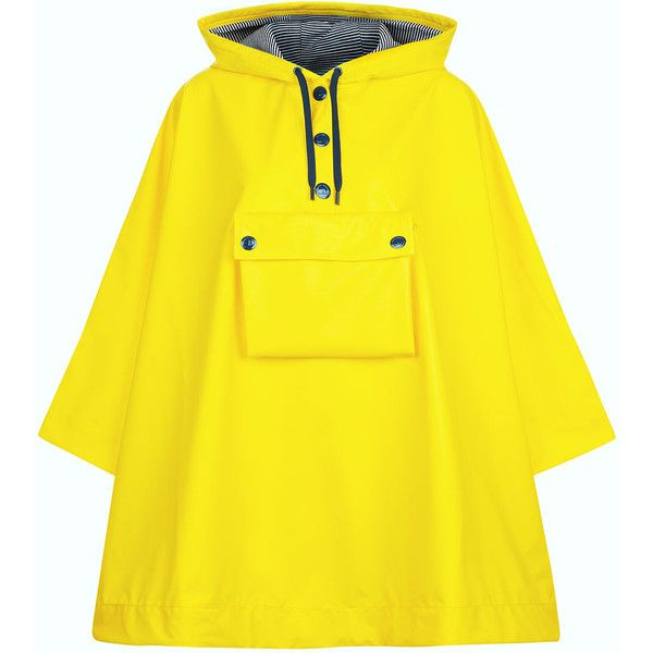 Petit Bateau Yellow Front Pocket Rain Cape ($185) ❤ liked on Polyvore featuring outerwear, buttoned cape coat, waterproof poncho, cape coat, hooded cape and poncho cape coat