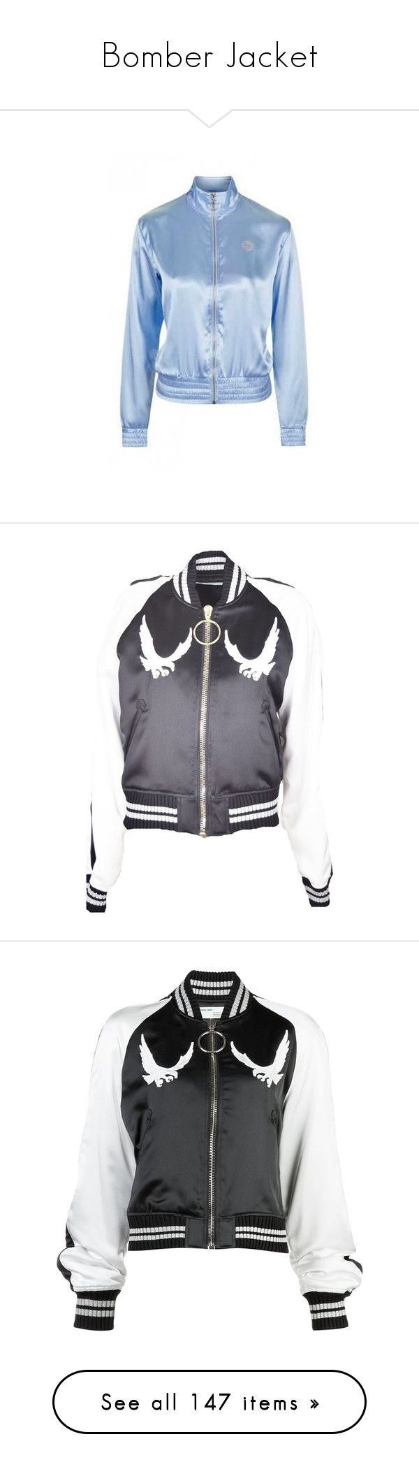 """Bomber Jacket"" by anillia ❤ liked on Polyvore featuring outerwear, jackets, blue jackets, bomber style jacket, embroidered jacket, zip front jacket, fitted jacket, black, flight jacket and eagles jacket"