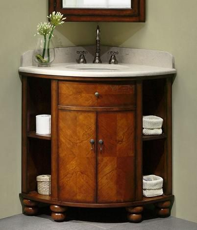 Carlton Corner Vanity From Xylem - great for small bathrooms!