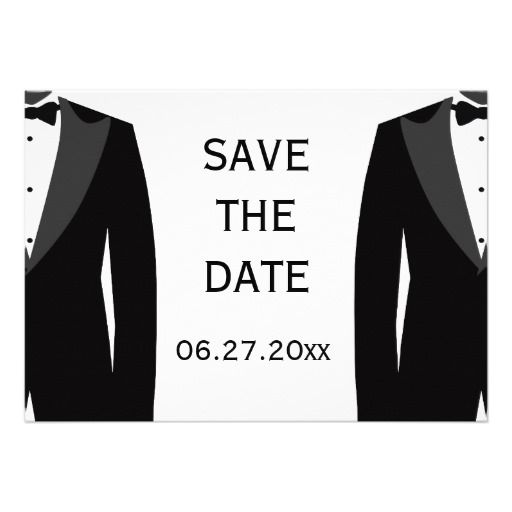 Black And White Gay Wedding Save The Date Card                                                                                                                                                                                 More