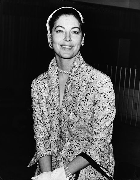 American actress Ava Gardner arriving at London Airport London 1958