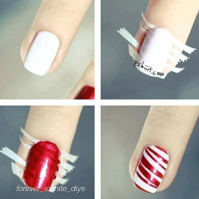 Red stripe or candy cane nail art - using small stripes of tape!