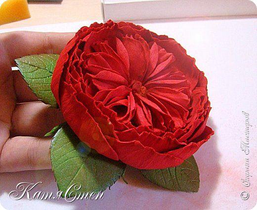 Пионовидная роза из фоамирана.