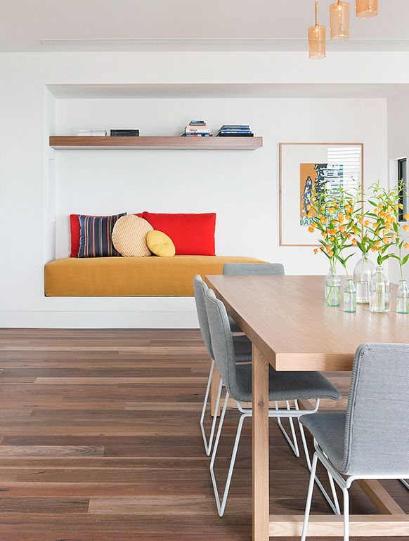Deep cushioned seat - and round cushions to break the lines Mount Martha House | Jardan