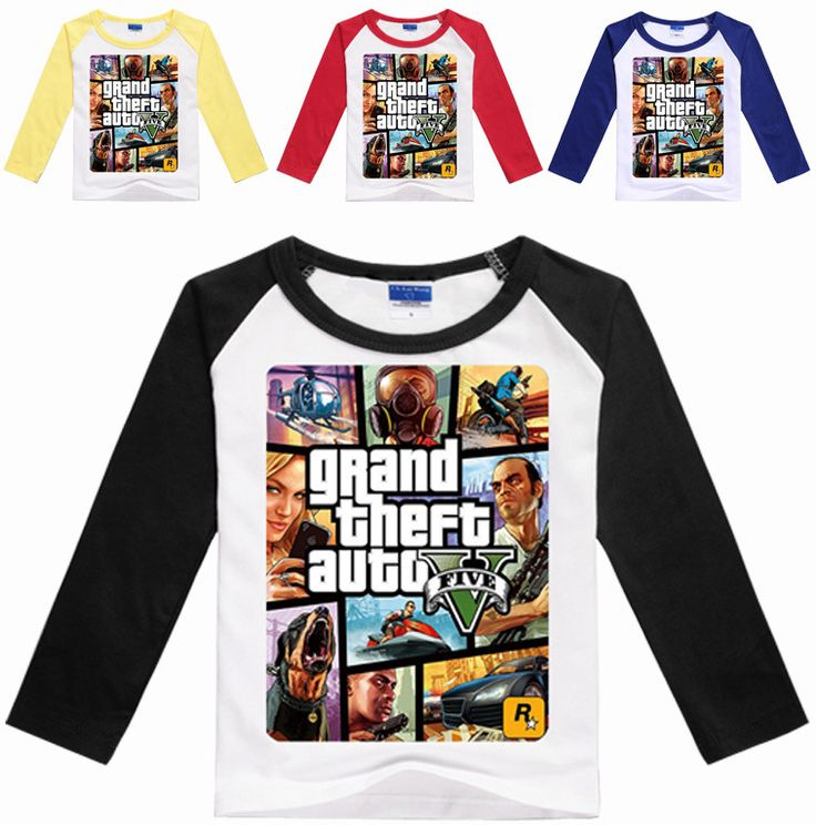 >> Click to Buy << Z&Y 3-16Years GTA 5 T-shirt Boys GAMES Clothing Boys Long Sleeve Tops Grand Theft Auto Cartoon Tops and Tees for Couples N07055 #Affiliate