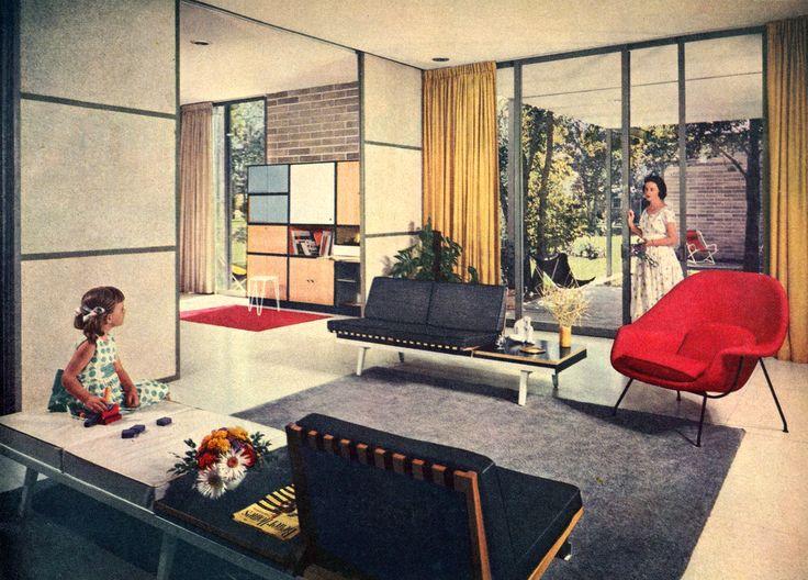 modern decor Mid century credenza  Nelson Modular Sofa Saarinen Womb  Chair Architect William R Jenkins 1957 Vintage InteriorsModern  17 Best. Mid Century Modern Interior Design History   SNSM155 com