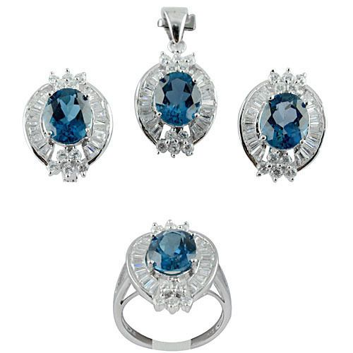 ATTRACTIVE REAL 10X8mm OVAL LONDON BLUE TOPAZ,W-CZ SOLID 925 SILVER JEWELRY SET #Handmade #Engagement