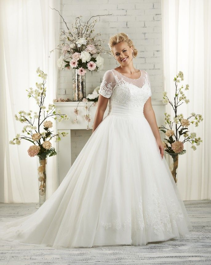 1513 Unforgettable Plus Size By Bonny Bridal Subtle Hand Beaded Pearl Detail And