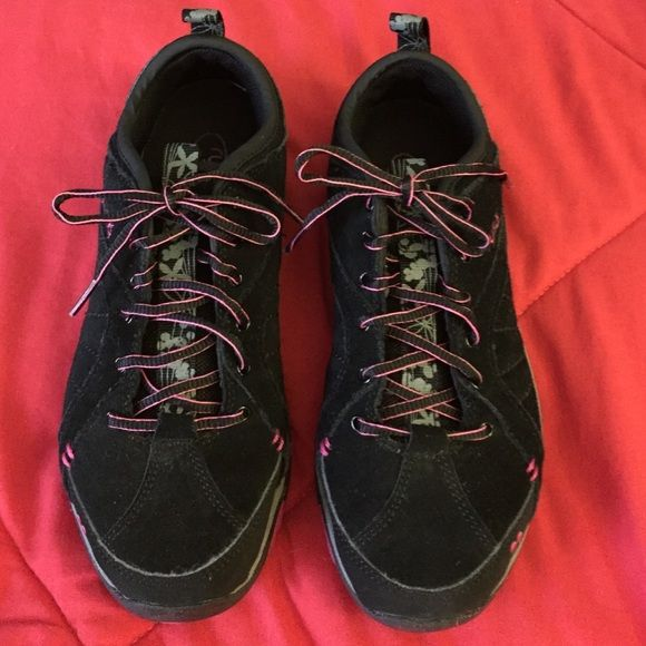 Ryka black suede sneakers Black suede with hot pink trimmed laces. Black/grey soles. Ryka Shoes Sneakers