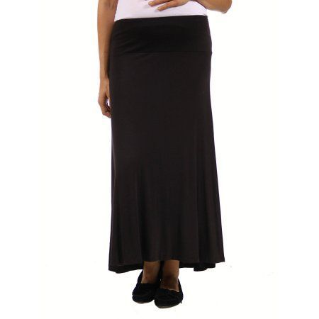 24/7 Comfort Apparel Women's Maternity Maxi Skirt, Size: 1XL, Black