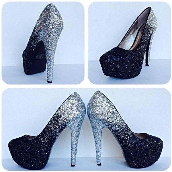 Black and Silver Two Tone Ombre Glitter Pump High Heels ($105) ❤ liked on Polyvore featuring shoes, pumps, ombre shoes, black silver shoes, black silver pumps, glitter pumps and bow shoes