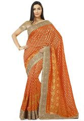 Orange Color Banarsi Upada Festival & Function Wear Sarees : Tarjani Collection  YF-41465