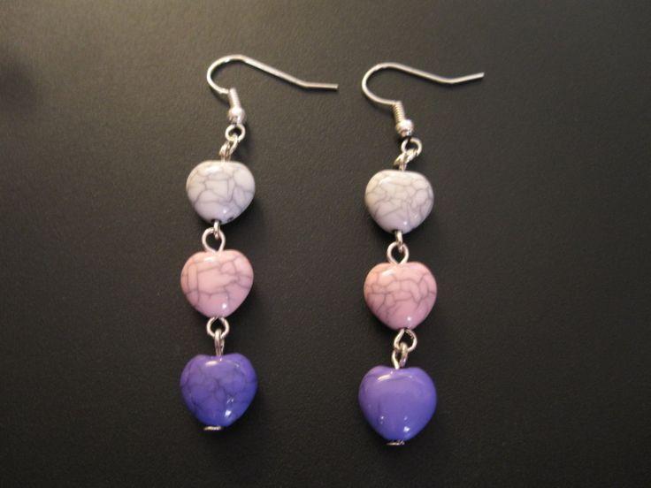 Boucles d'oreilles coeur tricolore howlite turquoise de la boutique TheAsaliahShop sur Etsy