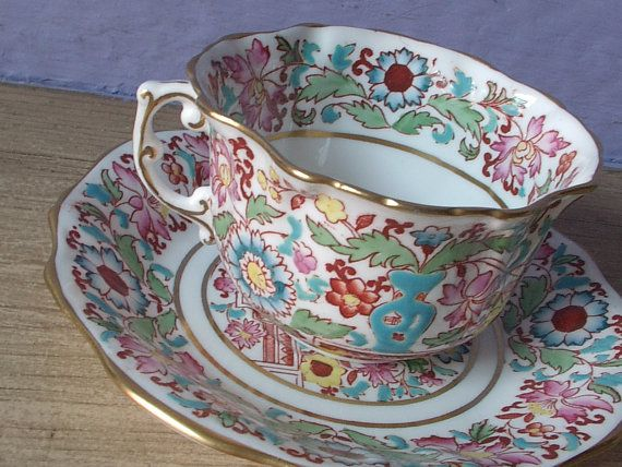 Antique Teacup and Saucer Set, Hammersley English Bone China Tea set, hand painted