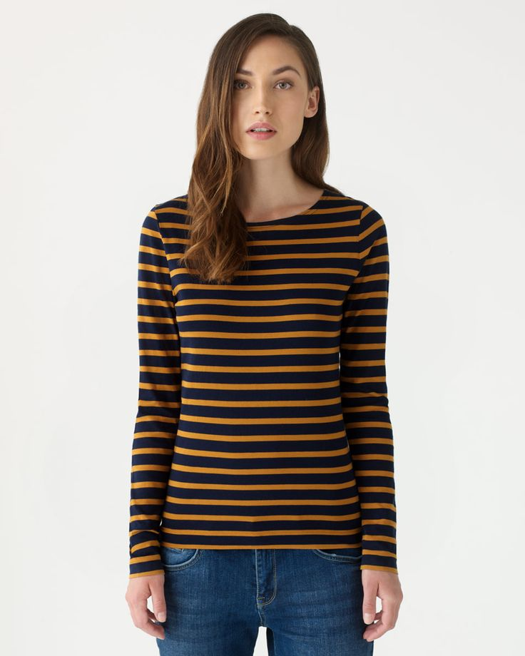 Jigsaw Retro Jersey Stripe Amelie Top in Gold, £35. Very French chic! Great with tight black jeans, a camel coat, and red ponyskin flats.