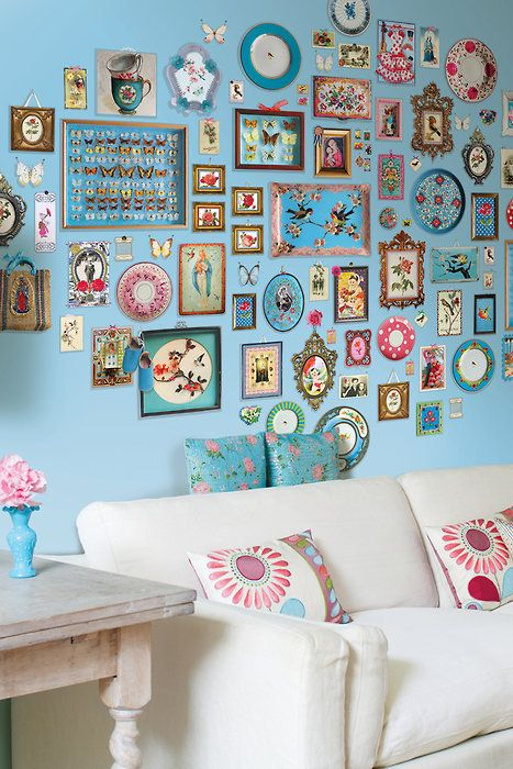 .Wall decoration in blues, pinks and florals