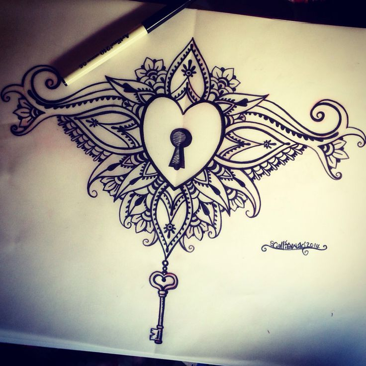 Mandala Wolf Tattoo Designs For Women I Like The: Locked Heart Sternum Tattoo Design