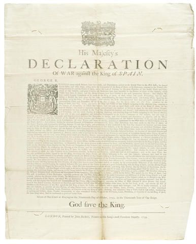 WAR OF JENKINS' EAR. GEORGE II, KING OF ENGLAND. 1683-1760. His Majesty's Declaration of War against the King of Spain. London: printed by John Baskett, [October], 1739.