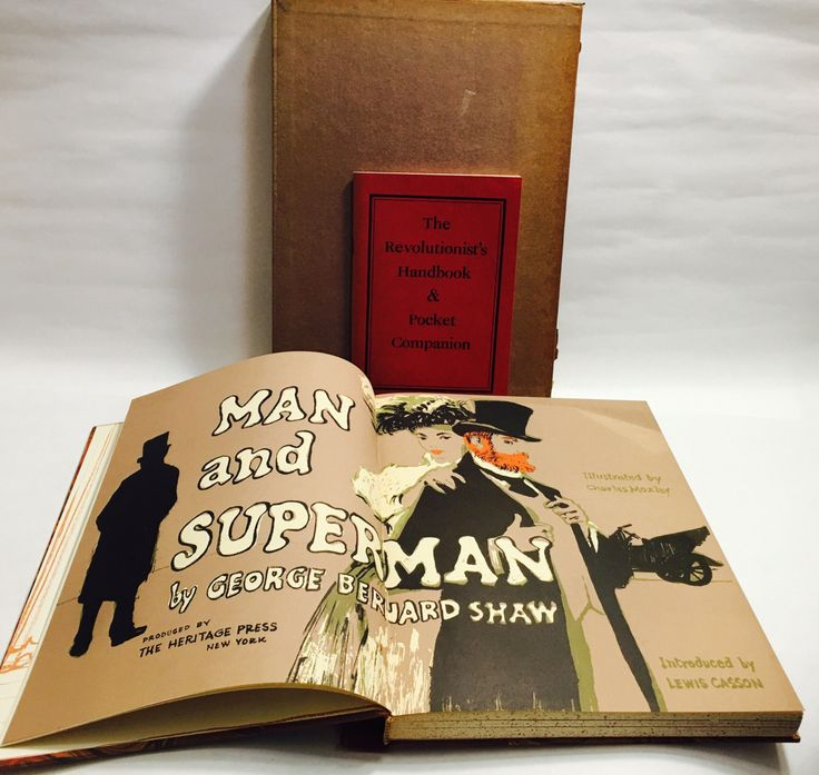 George Bernard Shaw book. Vintage Man and Superman book. Revolutionist's Handbook in original slipcase. Beautiful illustrations