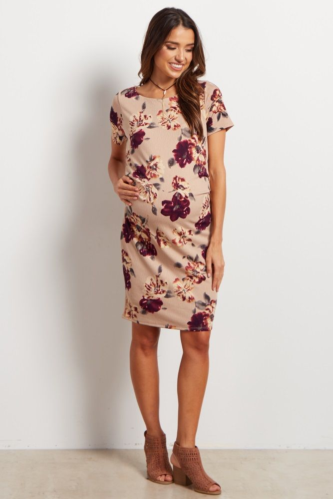 Taupe Floral Fitted Maternity Dress
