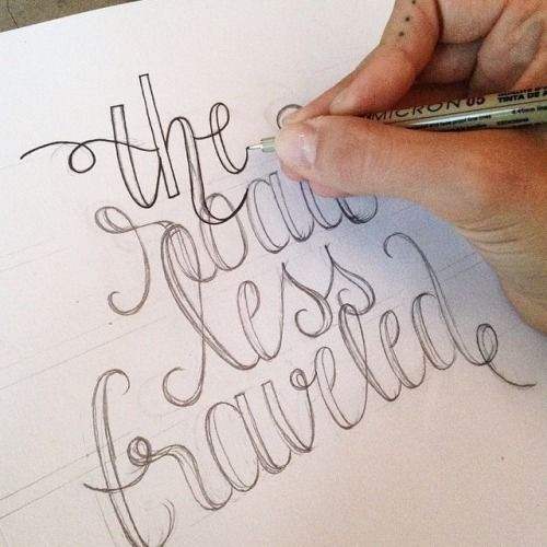"""The road less traveled"" by @bean_robin  #goodtype #lettering #handletter #wip #typography"