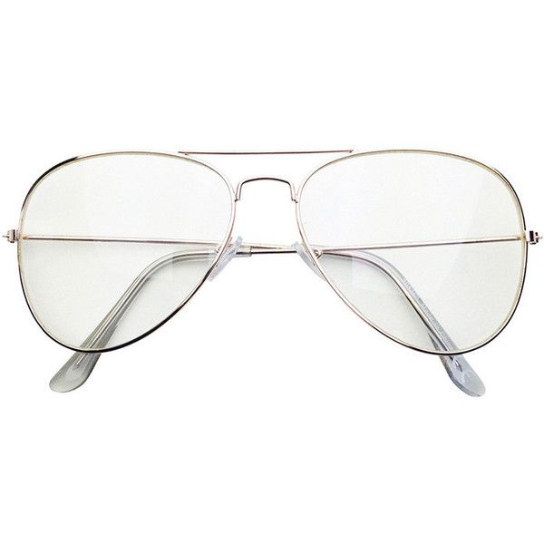 Clear Aviators in Gold ($8.99) ❤ liked on Polyvore featuring accessories, eyewear, sunglasses, gold aviator glasses, clear lens aviators, aviator eyeglasses, clear lens glasses and gold glasses