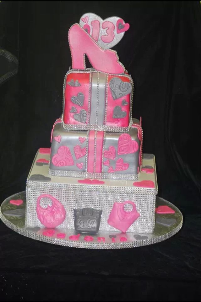 Pink And Silver Bling Square Cake Cake Designs By Cakes