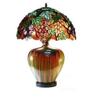 Shop for Warehouse of Tiffany Elvenea Bronze Ceramic/Art Glass 27-inch 2-light Grapes Tiffany-style Table Lamp. Get free shipping at Overstock.com - Your Online Home Decor Outlet Store! Get 5% in rewards with Club O! - 18889562