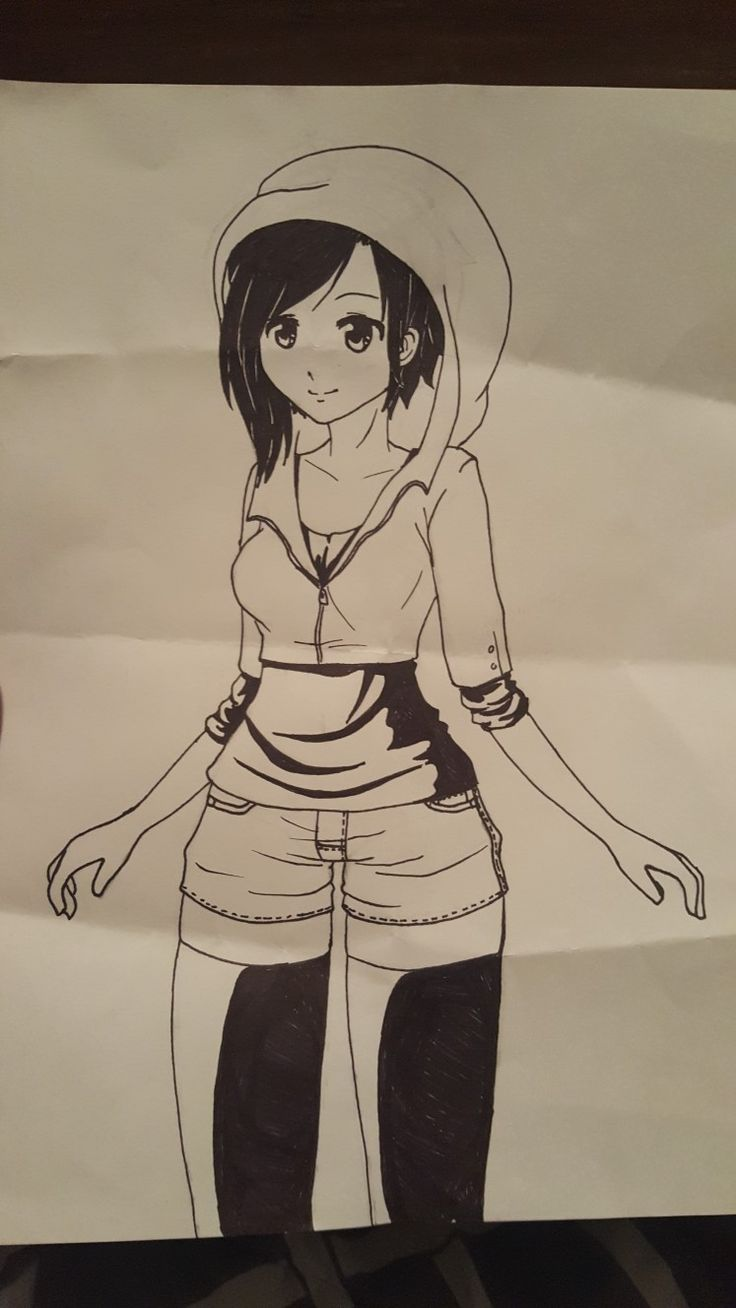 Sorry about the suddenly wrinkled paper! But here's an update on my drawing. I sketched out her clothing, and then I traced it with sharpie, erased all my pencil lines, and colored in the hair, socks, and shadows on the shirt with sharpie as well. The last update will be of the whole picture colored in and done! Thank you for your patience!