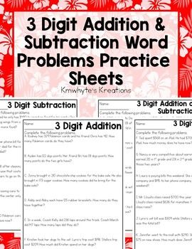 Working On 3 Digit Addition Subtraction Word Problems Then This Pack Of 4 Worksheets Practicing That Skill Is PerfectPrint White Or Colored Paper For