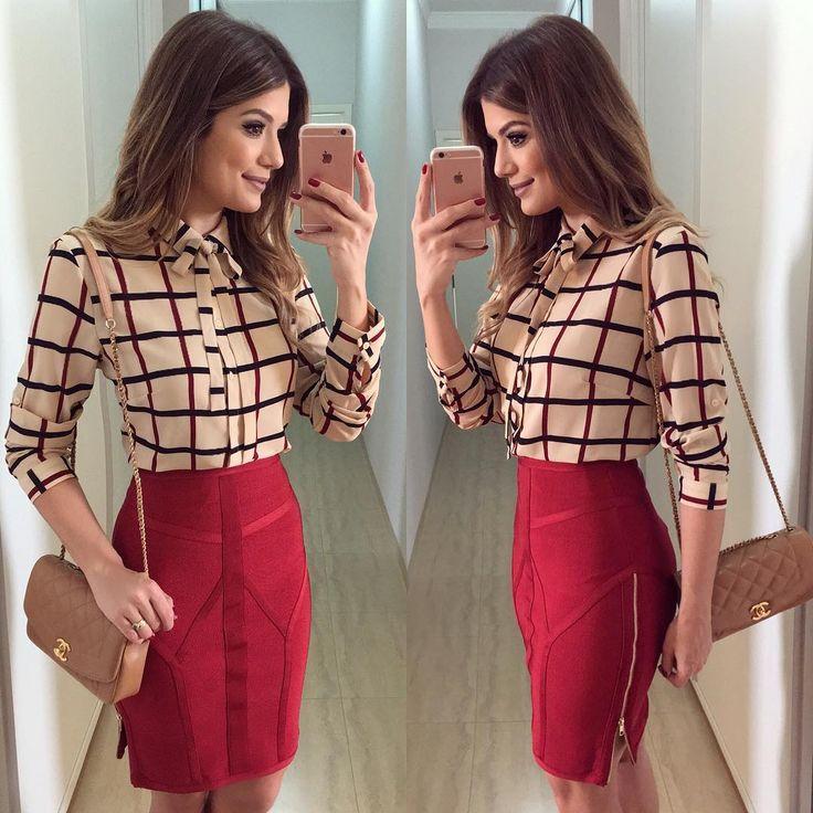 """""""❤️ Look todo @dressingupp Saia bandagem com zíper na lateral e blusa de lacinho que a gente ama! ❤️ Já disponível on-line: www.dressingup.com.br"""""""