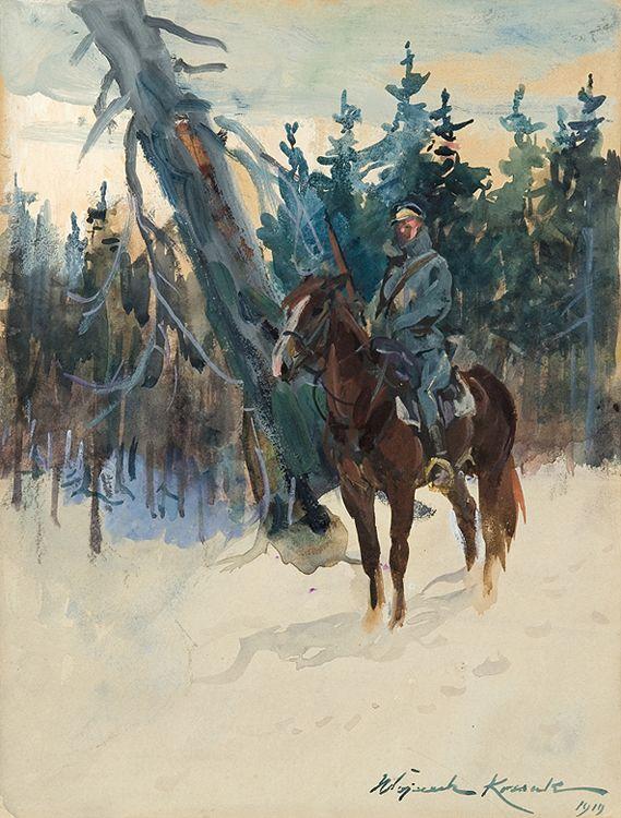 Wojciech Kossak UŁAN NA PIKIECIE, 1919