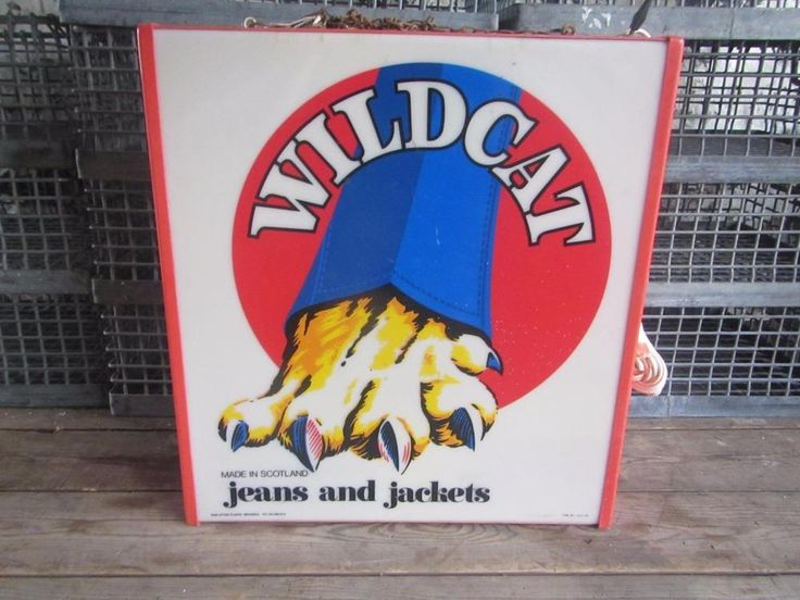 VINTAGE  SIGN LIGHTBOX WILDCAT JEANS JACKETS VINTAGE CLOTHING PERSPEX NOT ENAMEL