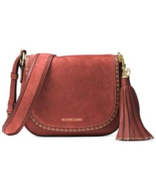NWT Michael Kors Brooklyn Suede Medium Size Womens Saddle Handbag Brown #MichaelKors #ShoulderBag