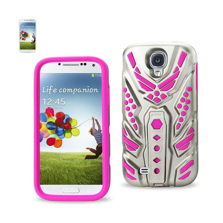 Reiko Silicon+Pc Cover With Pattern Kickstand Samsung Galaxy S4 Hot Pink